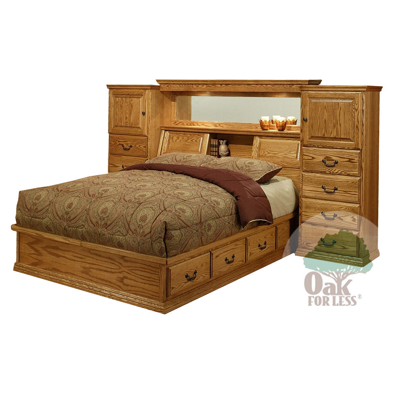 od-o-t465 and od-ot456 low pier wall headboard and pedestal bed | Oak For Less® Furniture