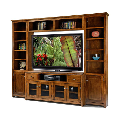 "OD-A-S274Wall - Shaker Alder Wall System with 61"" TV Stand - Oak For Less® Furniture"