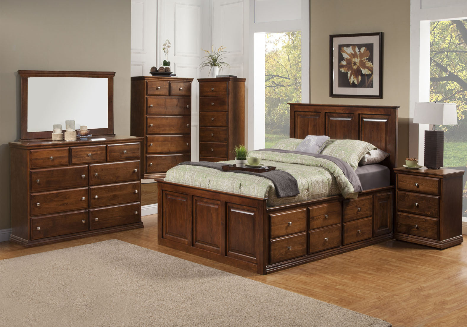 Traditional Alder Tall Version 6 Deep Drawer Platform Bedroom Suite CK