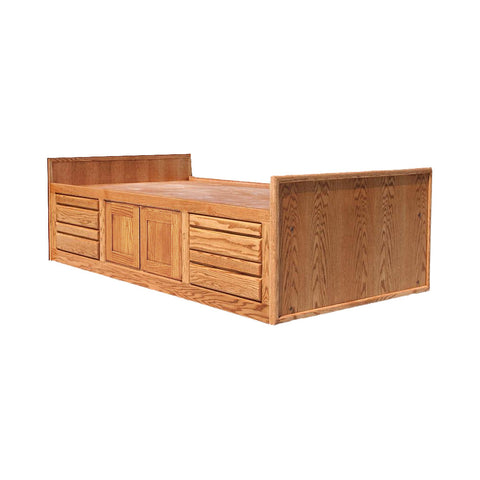 OD-O-C283-T - Contemporary Oak Chest Bed with 4 Drawers & 2 Doors - Twin Size - Oak For Less® Furniture