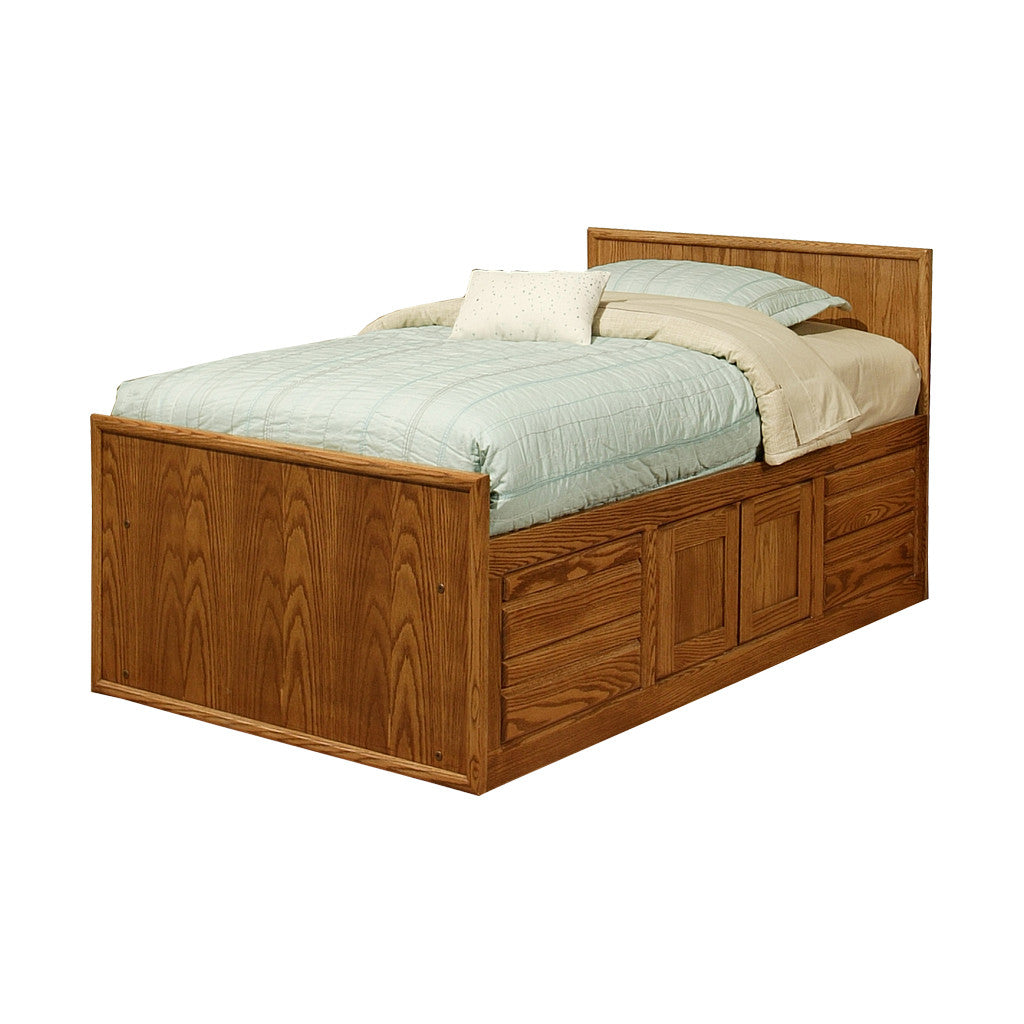 OD-O-C284-T - Contemporary Oak Chest Bed with 4 Drawers & 2 Doors and Flat Panel Headboard - Twin Size - Oak For Less® Furniture
