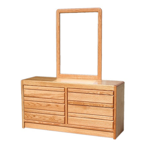 OD-O-C311 and OD-O-C312 - Contemporary Oak 6 Drawer Dresser with Mirror - Oak For Less® Furniture