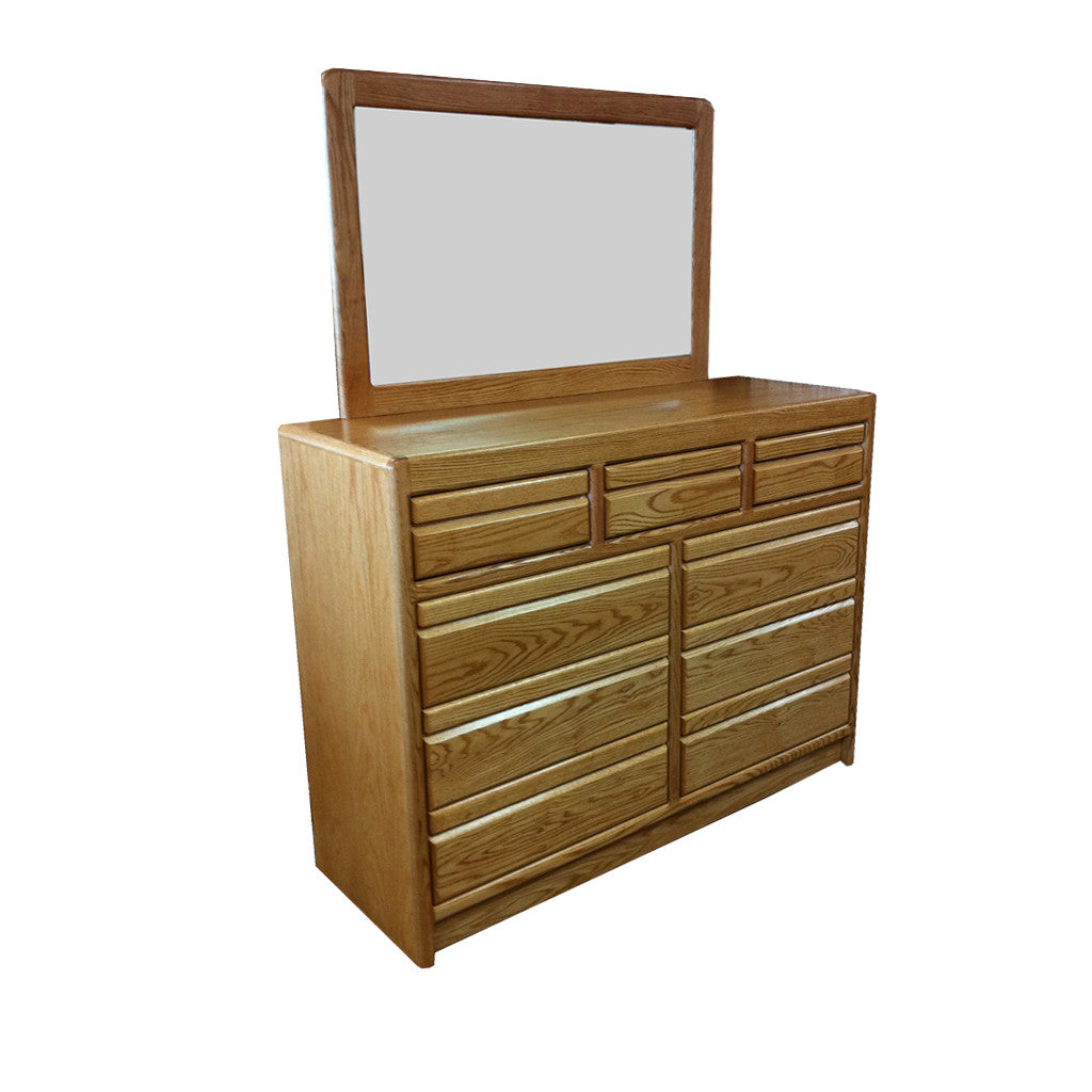OD-O-C324 and OD-O-C325 - Contemporary Oak 9 Drawer Mule Chest Dresser with Mirror