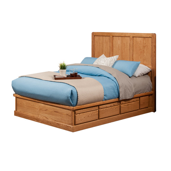 OD-O-C456-Q and OD-O-C471-Q-HB - Contemporary Oak Pedestal Bed with Panel Headboard - Queen Size - Oak For Less® Furniture