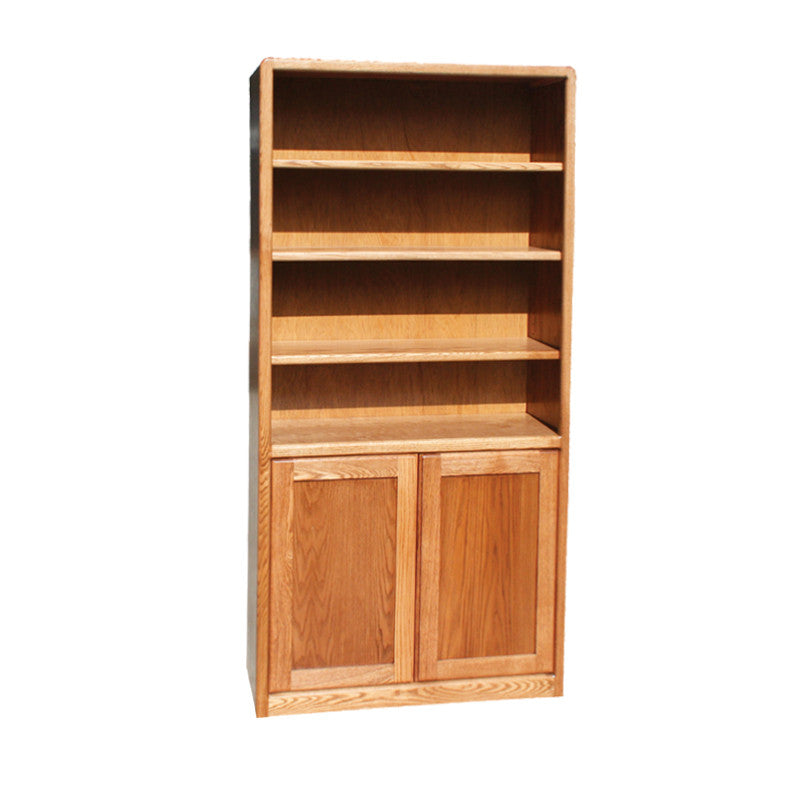"OD-O-C3684-D - Contemporary Oak Bookcase 36"" w x 12"" d x 84"" h with Lower Doors - Oak For Less® Furniture"