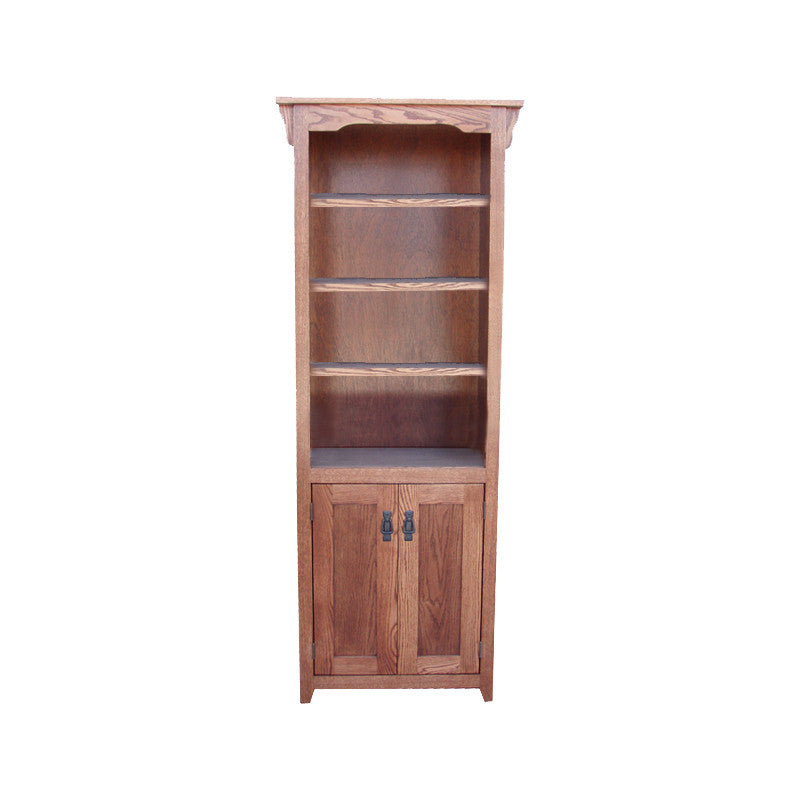 "OD-O-M2484-D - Mission Oak Bookcase 24"" w x 13"" d x 84"" h with Lower Doors - Oak For Less® Furniture"