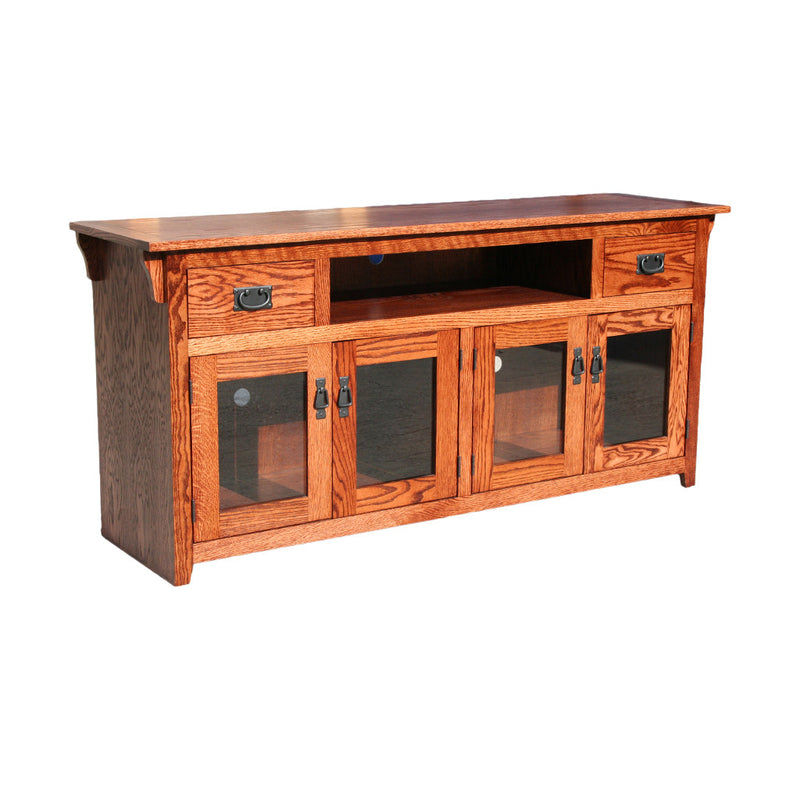 "OD-O-M274 - Mission Oak 65"" TV Stand - Oak For Less® Furniture"