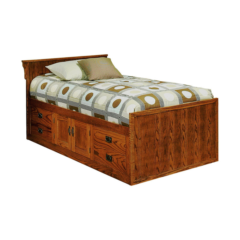 OD-O-M284-T - Mission Oak Chest Bed with 4 Drawers & 2 Doors and Flat Panel Headboard - Twin Size - Oak For Less® Furniture