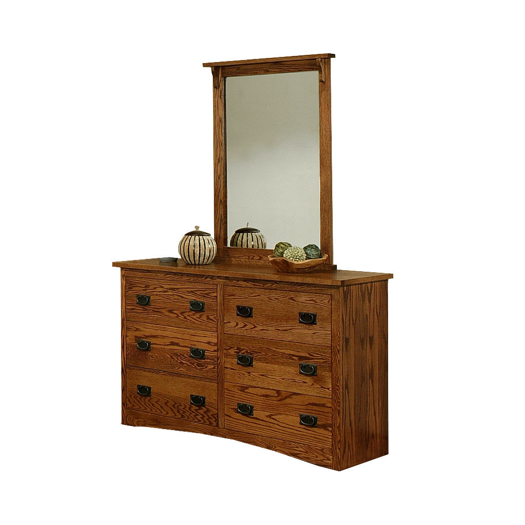OD-O-M311 and OD-O-M312 - Mission Oak 6 Drawer Dresser with Mirror - Oak For Less® Furniture