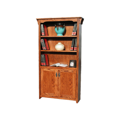 "OD-O-M3672-D - Mission Oak Bookcase 36"" w x 13"" d x 72"" h with Lower Doors - Oak For Less® Furniture"