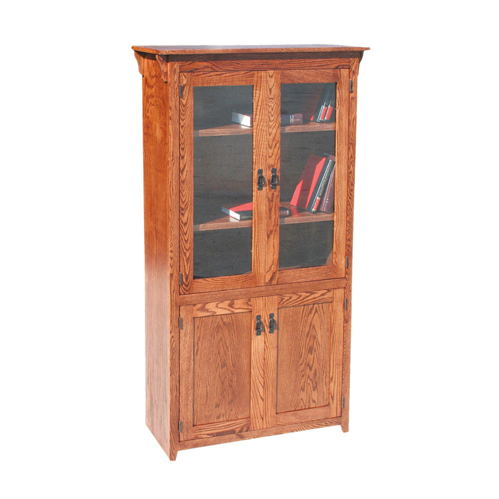 "OD-O-M3684-FD-glass-wood - Mission Oak Bookcase 36"" w x 17.75"" d x 84"" h with Full Doors - Glass and Wood - Oak For Less® Furniture"