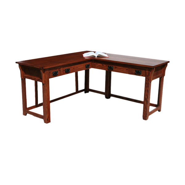 OD-O-M371-PU - Mission Oak Lap Top Desk and Return with Electrical Pop-Up - Oak For Less® Furniture