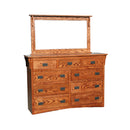 OD-O-M453 and OD-O-M454 - Mission Oak 9 Drawer Mule Chest Dresser with Mirror - Oak For Less® Furniture