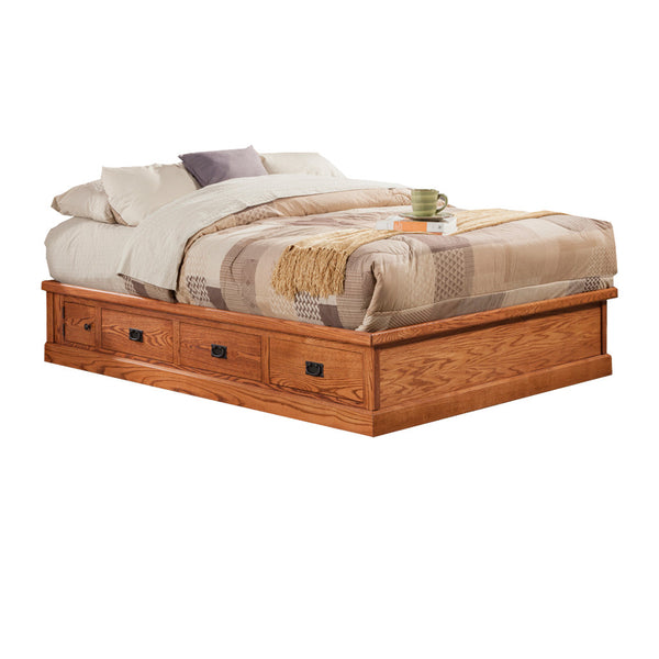 OD-O-M456-CK - Mission Oak Pedestal Bed with 6 drawers - Cal King Size - Oak For Less® Furniture