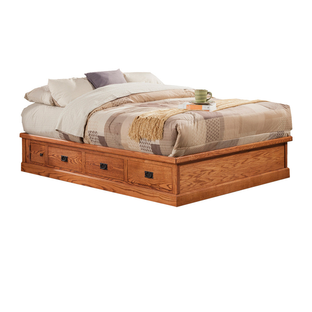 OD-O-M457-Q - Mission Oak Pedestal Bed with 6 drawers - Queen Size - Oak For Less® Furniture