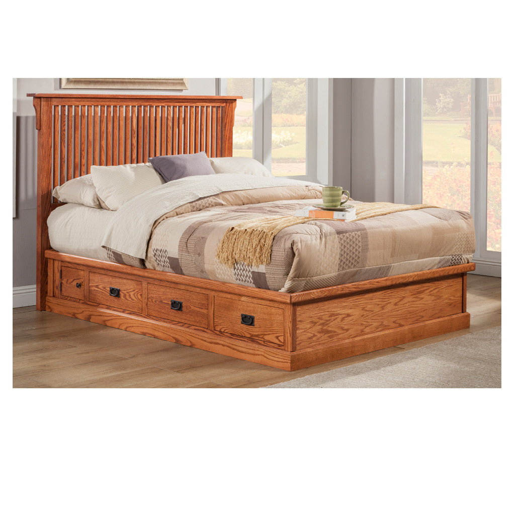 OD-O-M457-Q and OD-O-M458-Q-HB - Mission Oak Pedestal Bed with Rake  Headboard - Queen Size