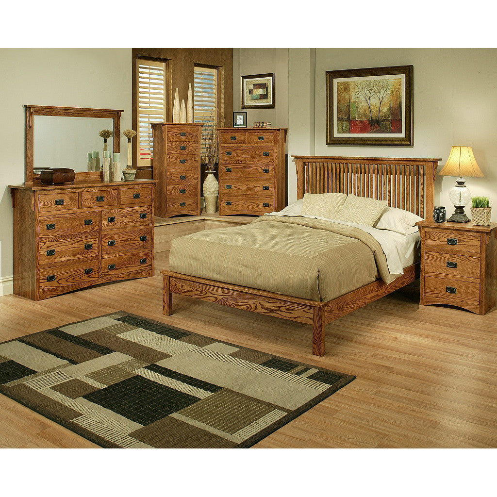 mission oak rake bedroom suite cal king size