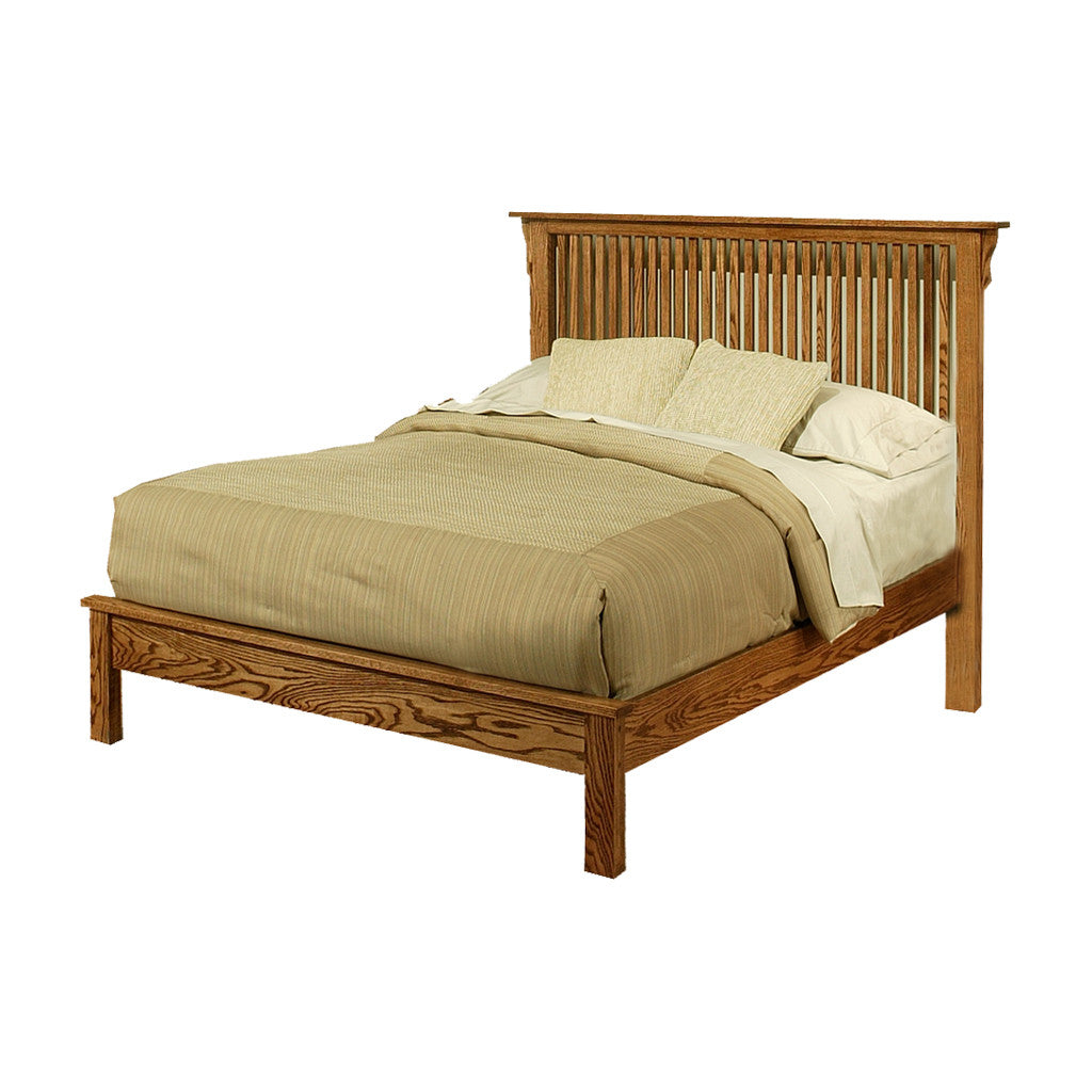 od o m458 q mission oak rake bed with low footboard queen size