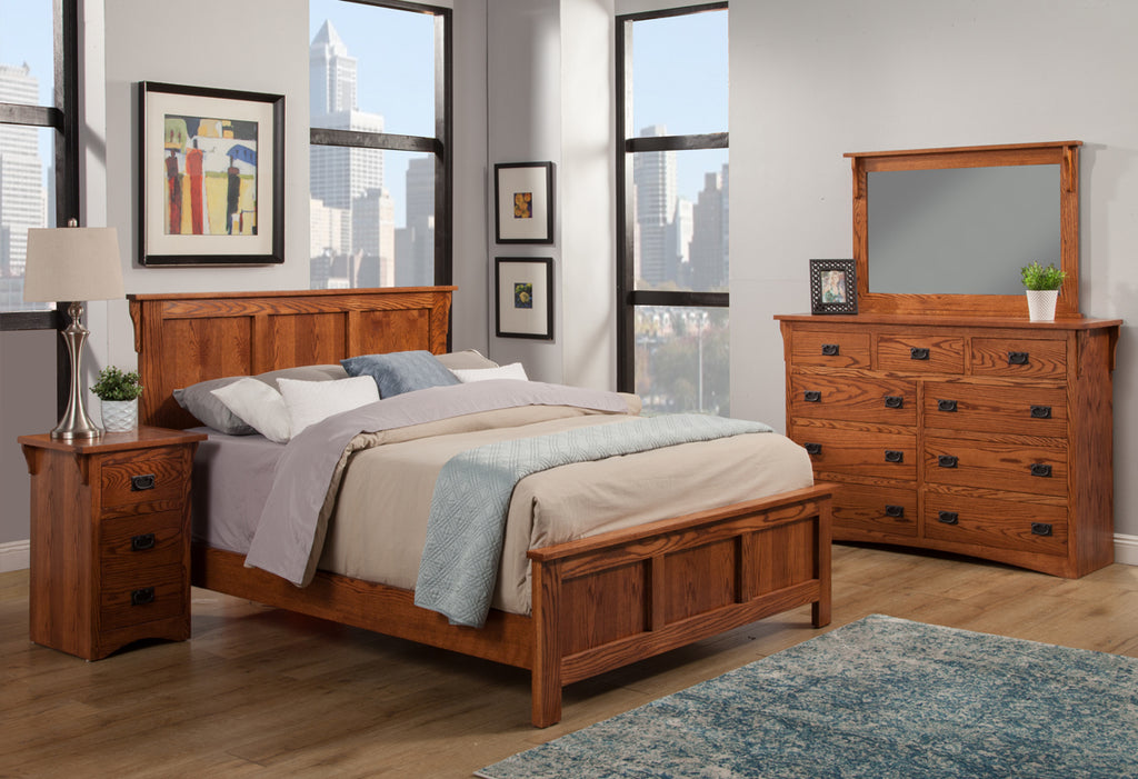 Mission Oak Panel Bed Bedroom Suite - Queen Size