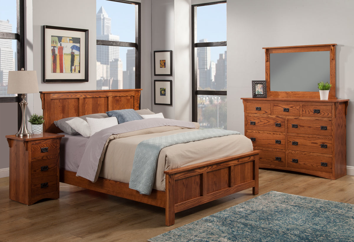 Mission Oak Panel Bed Bedroom Suite   Cal King Size