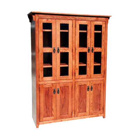 OD-O-M4884-FD-glass-wood - Mission Oak Bookcase 48\  w x 17.75\  d x 84\  h with Full Doors - Glass and Wood  sc 1 st  Oak For Less Furniture : bookcase doors glass - pezcame.com