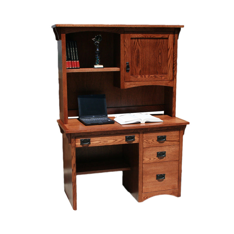 "OD-O-M600 and OD-O-M600-H - Mission Oak 47"" Junior Desk with Hutch - Oak For Less® Furniture"