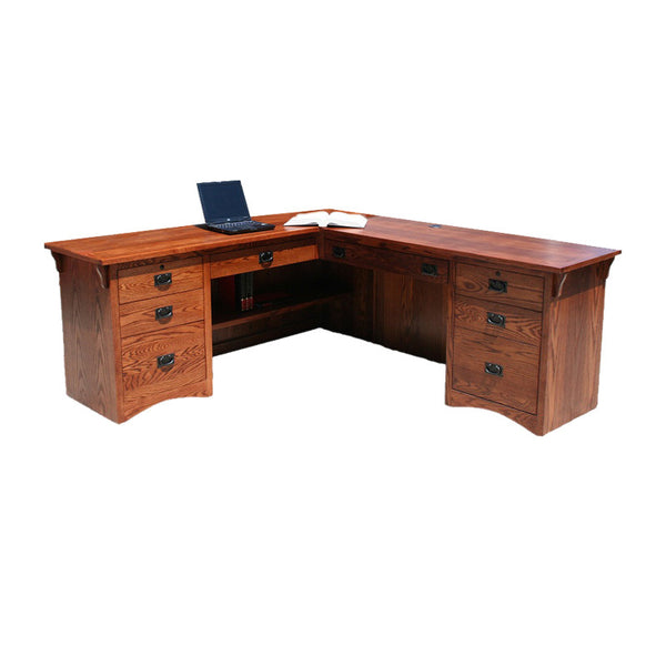 OD-O-M641 - Mission Oak Desk and Return - Oak For Less® Furniture