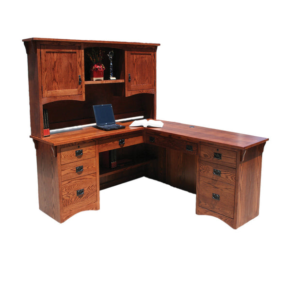 OD-O-M641 and OD-O-M641-H - Mission Oak Desk and Return with Hutch - Oak For Less® Furniture