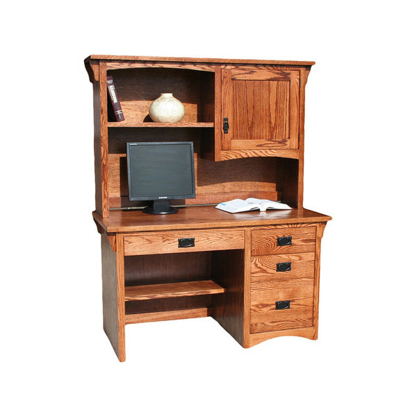 "OD-O-M642 and OD-O-M642-H - Mission Oak 52"" Student Desk with Hutch - Oak For Less® Furniture"