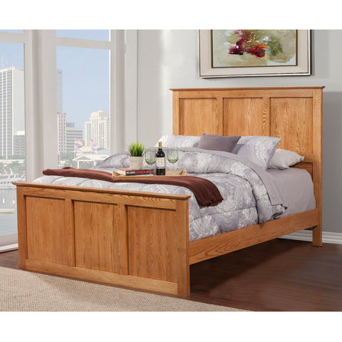 OD-O-S466-Q - Shaker Oak Panel Bed - Queen Size - Oak For Less® Furniture