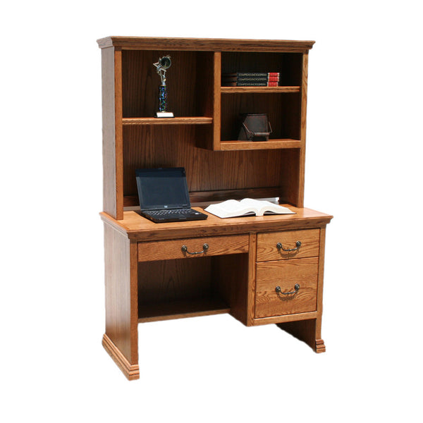 "OD-O-T100 and OD-O-T100-H - Traditional Oak 45"" Junior Desk with Hutch - Oak For Less® Furniture"