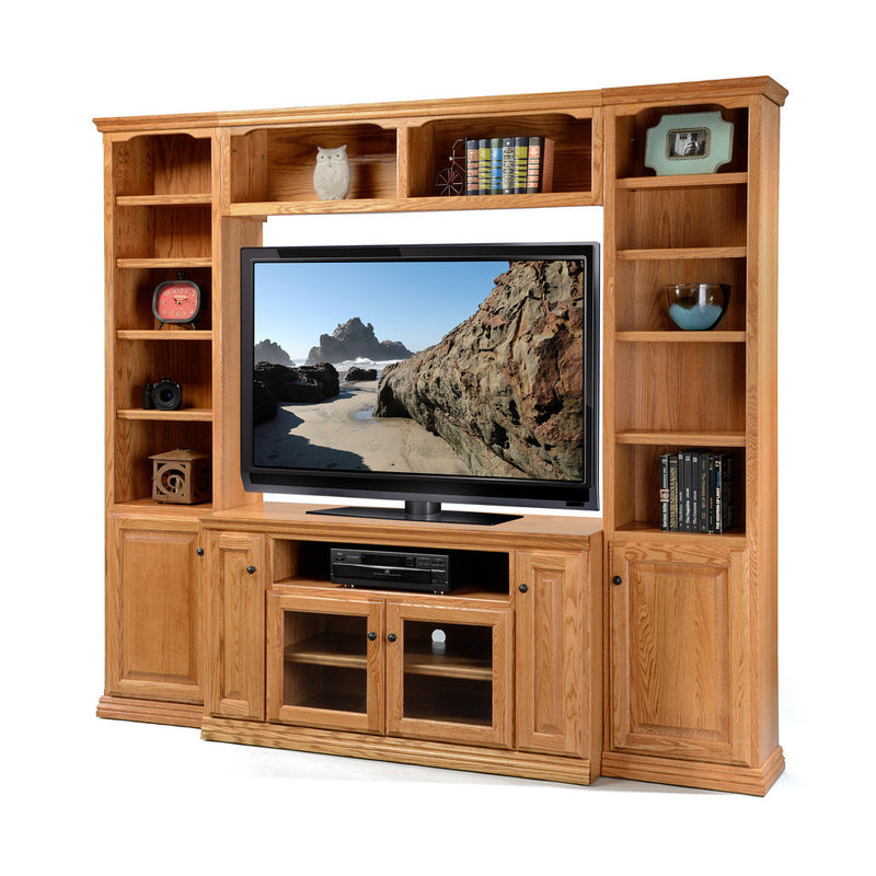"OD-O-T54Wall - Traditional Oak Wall System with 54"" TV Stand - Oak For Less® Furniture"
