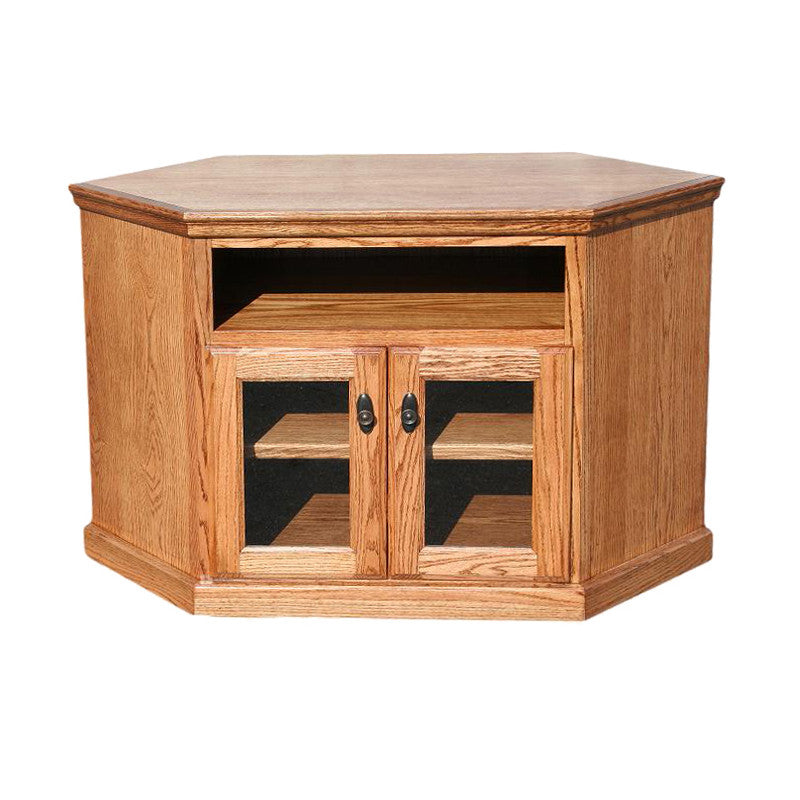 "OD-O-T244 - Traditional Oak 46"" Corner TV Stand - Oak For Less® Furniture"
