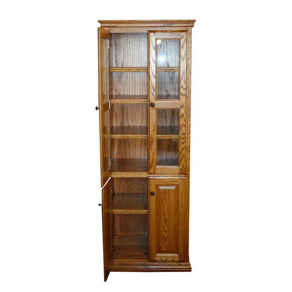 "OD-O-T2472-FD-glass-wood - Traditional Oak Bookcase 24"" w x 17.75"" d x 72"" h with Full Doors - Glass and Wood - Oak For Less® Furniture"