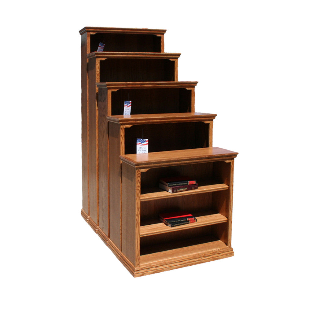 "OD-O-T3672 - Traditional Oak Bookcase 36"" w x 13"" d x 72"" h - Oak For Less® Furniture"