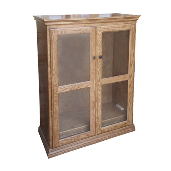 "OD-O-T3648-FD-glass - Traditional Oak Bookcase 36"" w x 17.75"" d x 48"" h with Full Doors - Glass - Oak For Less® Furniture"
