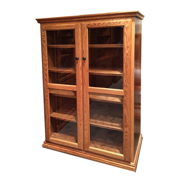 "OD-O-T3660-FD-glass - Traditional Oak Bookcase 36"" w x 17.75"" d x 60"" h with Full Doors - Glass - Oak For Less® Furniture"