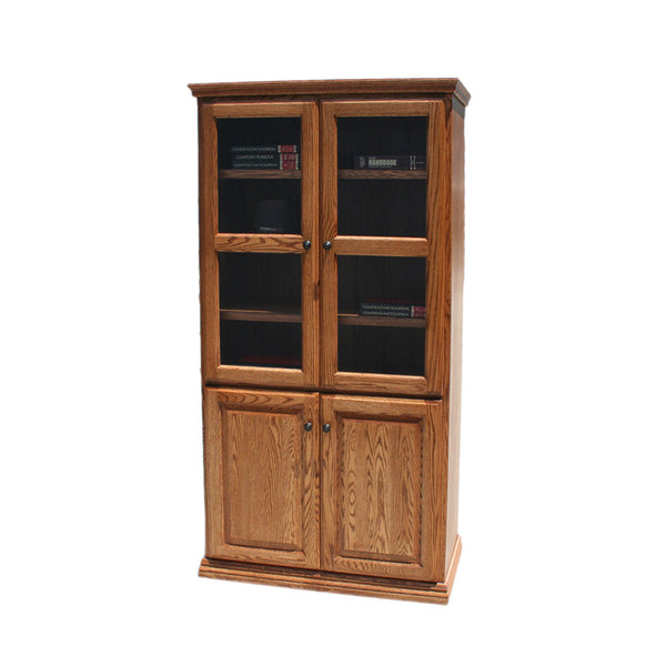 "OD-O-T3672-FD-glass-wood - Traditional Oak Bookcase 36"" w x 17.75"" d x 72"" h with Full Doors - Glass and Wood - Oak For Less® Furniture"