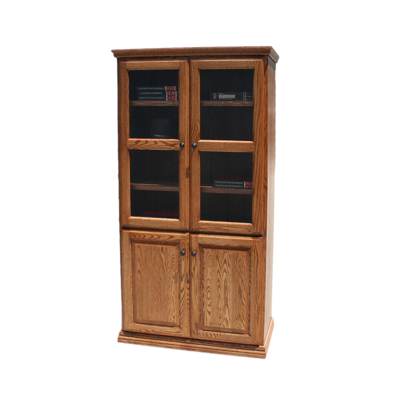 "OD-O-T3684-FD-glass-wood - Traditional Oak Bookcase 36"" w x 17.75"" d x 84"" h with Full Doors - Glass and Wood - Oak For Less® Furniture"