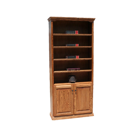 "OD-O-T3672-D - Traditional Oak Bookcase 36"" w x 13"" d x 72"" h with Lower Doors - Oak For Less® Furniture"
