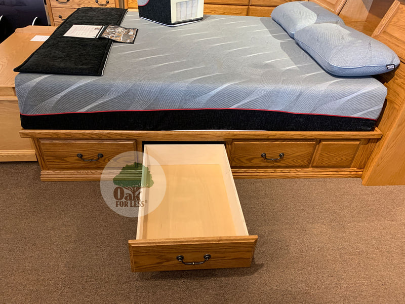 OD-O-T456-CK and OD-O-T462-CK - Traditional Oak Pedestal Bed with Bookcase Headboard - Cal King Size - Oak For Less® Furniture
