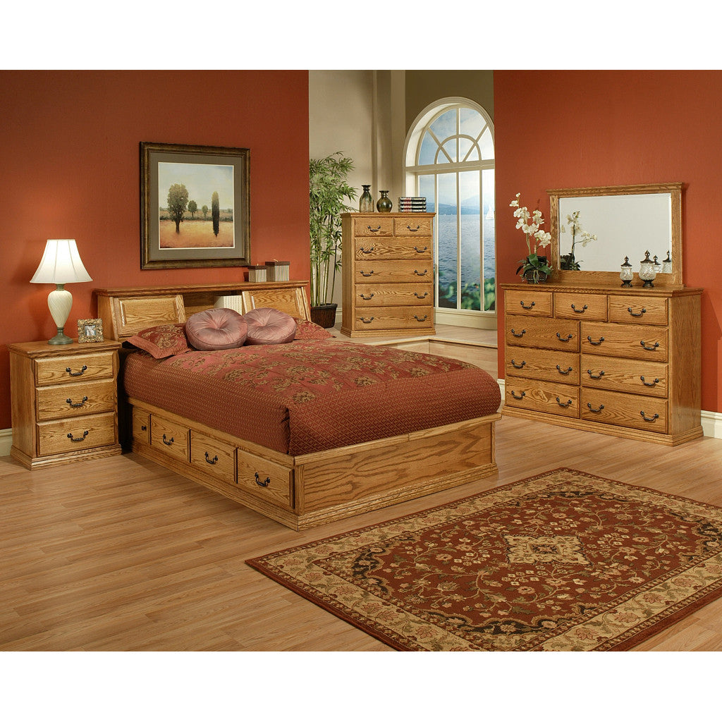 Traditional Oak Platform Bedroom Suite - Queen Size - Oak For Less® Furniture