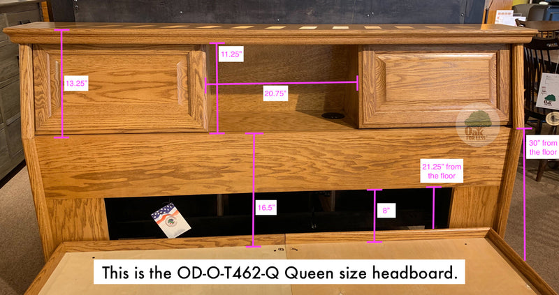 OD-O-T456-Q and OD-O-T462-Q - Traditional Oak Pedestal Bed with Bookcase Headboard - Queen Size - Oak For Less® Furniture