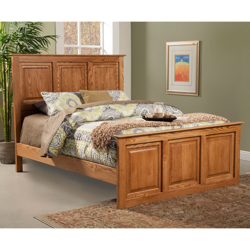 OD-O-T466-Q - Traditional Oak Raised Panel Bed - Queen Size - Oak For Less® Furniture