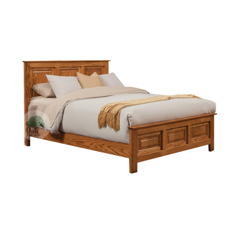 Traditional Oak Panel Bed - Queen Size - Oak For Less® Furniture