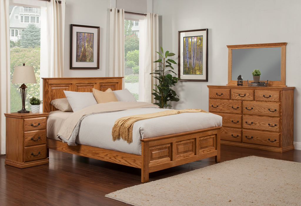 Traditional Oak Panel Bed Bedroom Suite - Queen Size