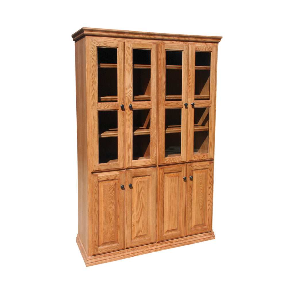 "OD-O-T4872-FD-glass-wood - Traditional Oak Bookcase 48"" w x 17.75"" d x 72"" h with Full Doors - Glass and Wood - Oak For Less® Furniture"