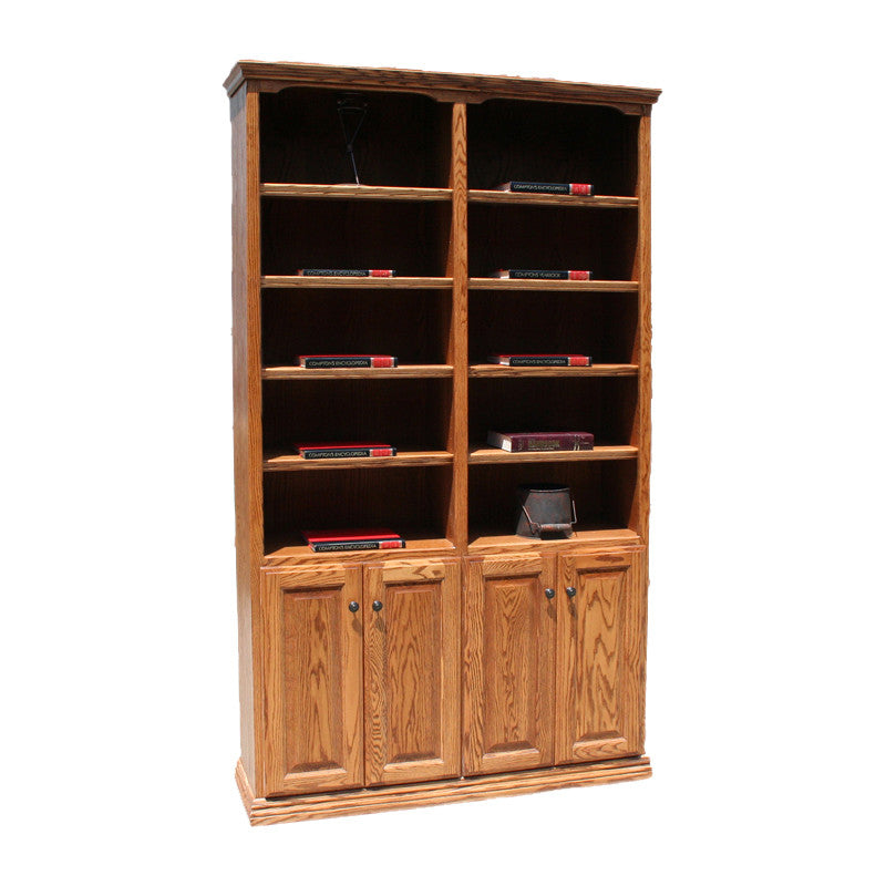 "OD-O-T4872-D - Traditional Oak Bookcase 48"" w x 13"" d x 72"" h with Lower Doors - Oak For Less® Furniture"