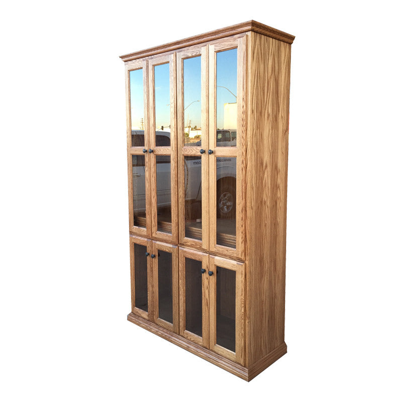 "OD-O-T4872-FD-glass - Traditional Oak Bookcase 48"" w x 17.75"" d x 72"" h with Full Doors - Glass - Oak For Less® Furniture"
