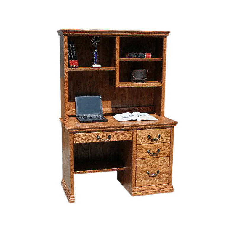 "OD-O-T600 and OD-O-T600-H - Traditional Oak 45"" Junior Desk with Hutch - Oak For Less® Furniture"